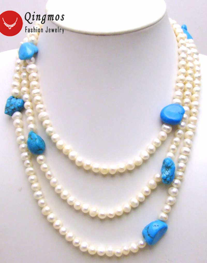 "Qingmos Natural Freshwater White Pearl Necklace for Women with 6mm Round Pearl 60"" Long Necklace & Baroque Blue Turquoises Stone"