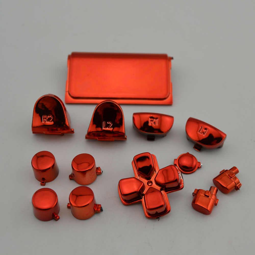 10 セット PS4 コントローラのジョイスティックハンドル金属キーゲームパッドボタンアクセサリー真っ赤