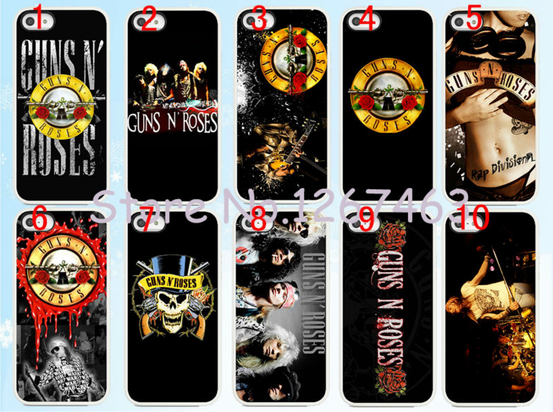 10pcs lots Guns n Roses hard White Skin case cover for iphone6 6S 4 7inch and