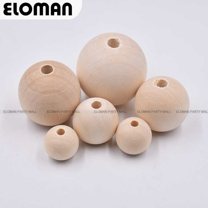 ELOMAN 6-16mm Natural Ball Wood Spacer Beads For Charm Bracelet Wholesale wood beads jewelry DIY wooden accessories