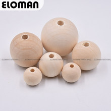 ELOMAN 6-16mm Natural Ball Wood Spacer Beads For Charm Bracelet Wholesale wood beads jewelry DIY wooden accessories(China)