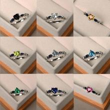 Fashion Female 925 Sterling Silver Rings For Women Party Accessories Trendy Zircon Blue Heart Girls Finger Ring Jewelry Lady Hot ska brand monaco pearls ring women 925 sterling silver rings for women inlaid zircon moon trendy party fine jewelry a18603xpl