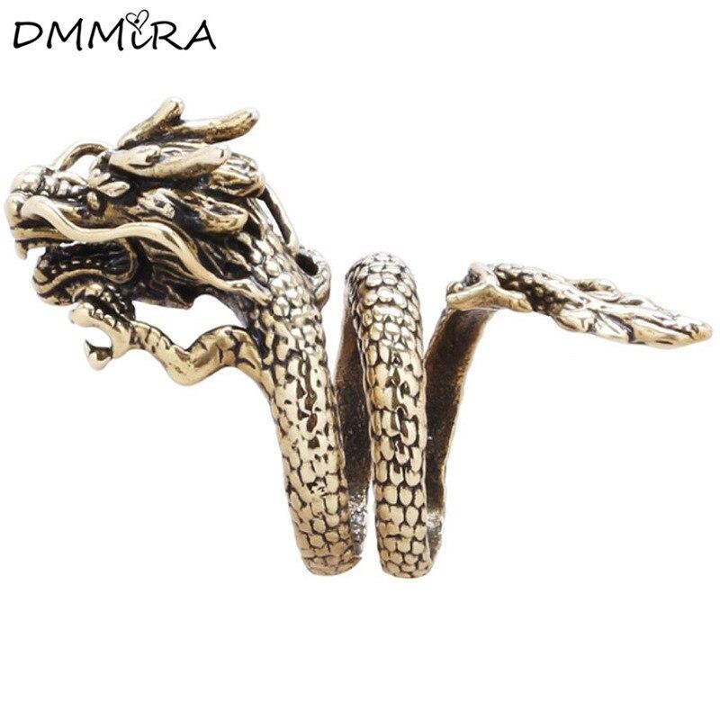 Fashion Cool Men Punk Retro Silver Bronze Dragon Alloy Vintage Retro Animal Dragon Head Open Skull Finger Rings Jewelry