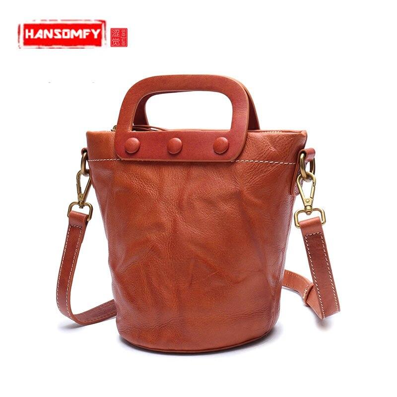 New Handmade Leather women handbag Shoulder Messenger Bag Genuine Leather Wash Mini Bucket female BagsNew Handmade Leather women handbag Shoulder Messenger Bag Genuine Leather Wash Mini Bucket female Bags