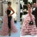 Elegant Prom Dresses 2017 New Tulle Tiered Black and Pink Mermiad Sleeveless Evening Gowns Formal Party Dress Vestido de festa