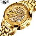 LIGE автоматические механические золотые мужские часы с драконом, мужские часы в китайском стиле, мужские водонепроницаемые часы из нержавею...