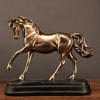Vintage Resin Gold Horse Statues Figurines Ornaments Horse Sculpture Crafts Home Office Decoration Accessories Wedding Gifts