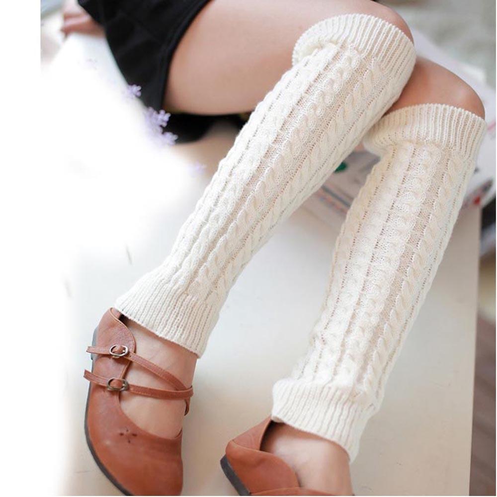 Страуса горячая Распродажа новая мода высокое качество повседневные женские теплые зимние классические вязаные гетры новые - Цвет: Белый