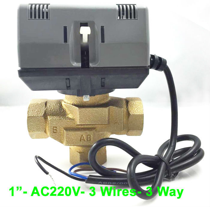 1 DN25 Electric motor valve AC220V 3 wires control brass electric valve 3 port for HVAC