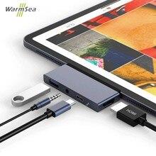 USB C Hub Thunderbolt 3 Adapter Dock to PD/Data HDMI 4K Hub 3.0 Jack 3.5mm Headphone for 2018 iPad Pro Macbook Type c