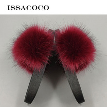 ISSACOCO Women Real Fox Fur Slides Non-slip Fluffy Slippers Furry Ladies Cute Plush Hair