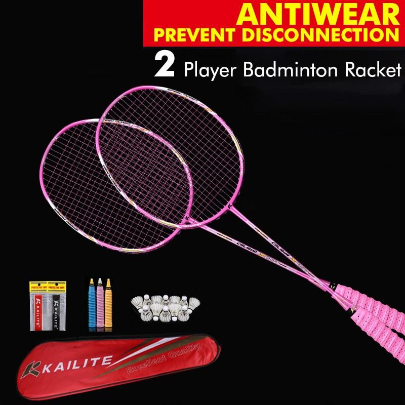 2 Pieces 4U G5 80g Carbon Fiber Badminton Racket Professional Carbon Badminton Racquet 22-28 LBS