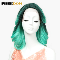 FREEDOM Lace Front Wig Short Loose Wave Synthetic Hair 16 Inch Wigs Ombre blonde wig Green Colors Mixed Cosplay Free Shipping