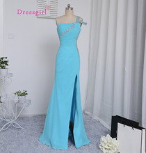 Dressgirl Sky Blue 2017 Prom Dresses Mermaid Open Back Beaded Crstals Sexy Slit Long Prom Gown Evening Dresses Evening Gown