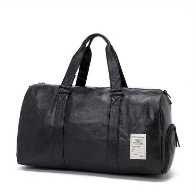 PU Waterproof Gym Sports Bag Mens Travel Storage Bag Organizer Women Black  Leather Fitness Shoulder Bags f9c27f4c0aedd