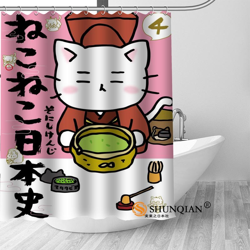 PY008 Hot Custom Japanese cartoon cat Shower Curtains Polyester Bathroom Curtains With Hook Bath Curtain Bathroom Decor