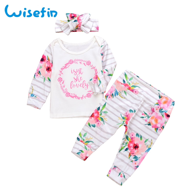 Wisefin Baby Girl Clothes 3Pc Bebes Clothing Outfits Set Flower Bow Headband Tops T shirts Long Sleeve Pants Toddler Clothes Set