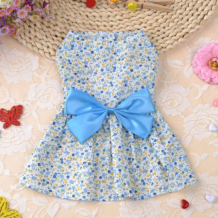 Cute Dog Dress Summer Soft Cotton Printing Bow Pet Puppy Clothes 4
