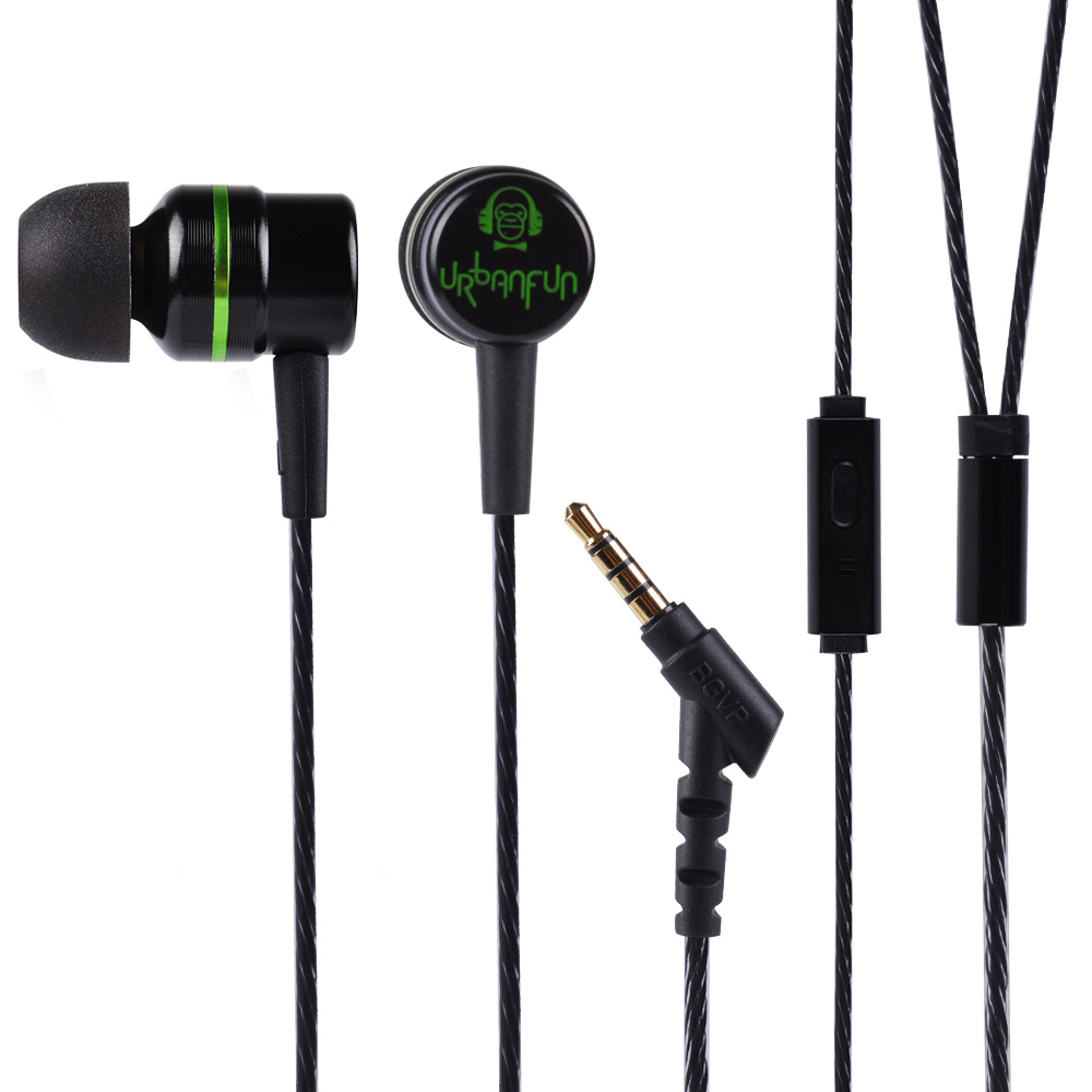 URBANFUN Balanced Armature 3.5mm In Ear Earphone Hybrid Driver 1dd+1ba HiFi Metal Earphone Earplug Headset With Mic Earphones