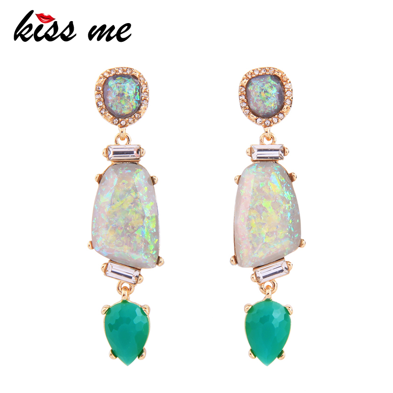 KISS ME Chic Green Water Drop Resin Crystal Drop Earrings New Design Women Statement Earrings Luxury Jewelry rectangle design drop earrings