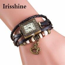 Irisshine i0699 женские MS, модные повседневные кварцевые плетеные кожаные Троянские женские наручные часы, женские часы, подарок