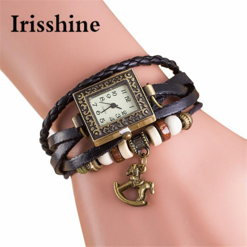 Irisshine I0699 Lady Ms Fashion Casual Quartz Weave Around Leather Trojans Bracelet Woman Wrist Watch Women Watches Gift