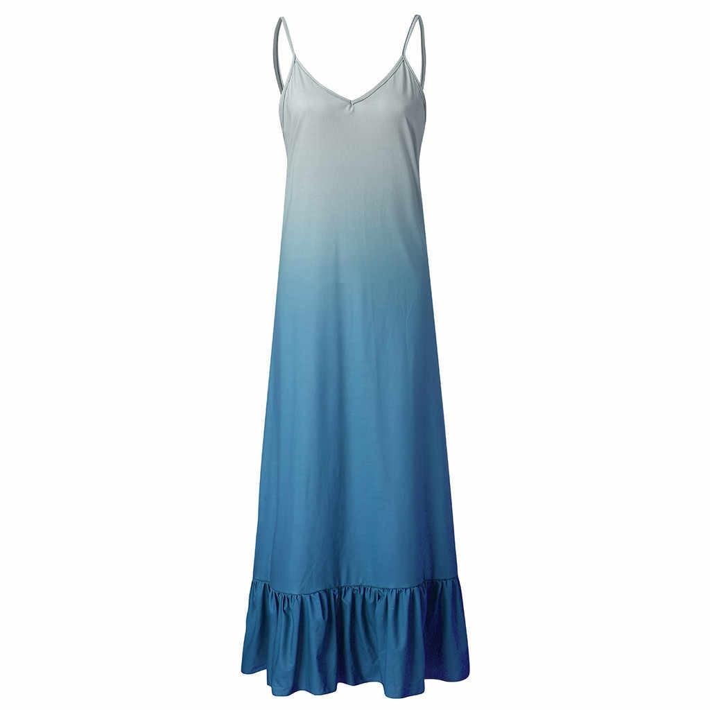 Сексуальные вечерние платья, женская туника-платье, без рукавов, вырез лодочкой, повседневные, свободные, градиентные, макси платья, женские платья, сарафан 2019