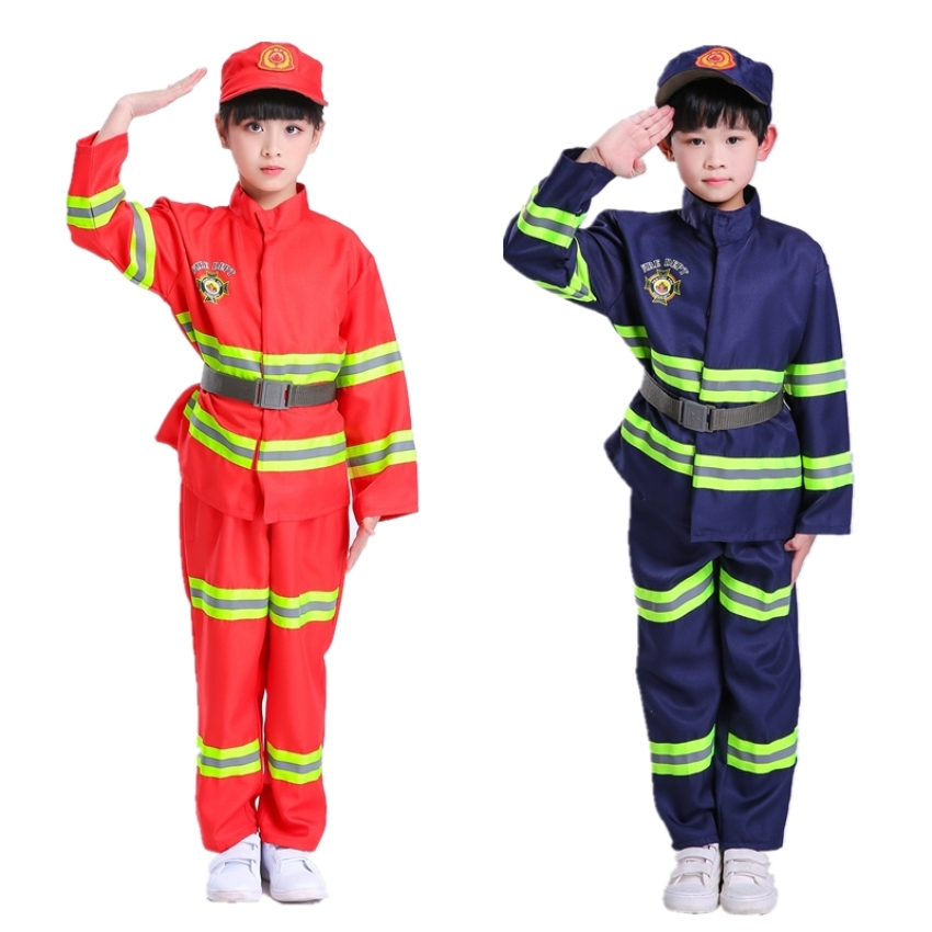 Firefighter Cosplay Halloween Costumes for Kids Children Fire Police Clothing Fireman Uniform for Boy Costume Set 100-170CM