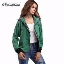 Misszonee 2017 Women Jackets Outerwear Hoodies Hooded Coats for Women  Vintage Autumn Brand Mujer Vintage Jacket Basic Coat