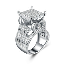 2019 New Bling Zircon Stone 925 Sterling Silver Rings for Women Fashion Wedding Engagement Jewelry