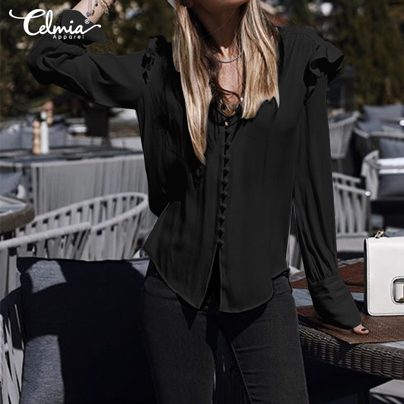 Women Tops and Blouses Celmia 2019 Autumn Sexy V Neck Long Sleeve Loose Work Shirts Female Casual Blusas Femininas Plus Size 5XL(China)