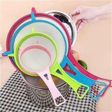 Nueva venta caliente de plástico de malla fina filtro colador harina tamiz  con mango jugo y colador de té herramientas de cocina 5fa8ac98f1bd