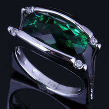 Awesome Oval Green Cubic Zirconia White CZ 925 Sterling Silver Ring For Women V0658 awesome big long golden citrine white cz engagement 925 silver ring sz 7