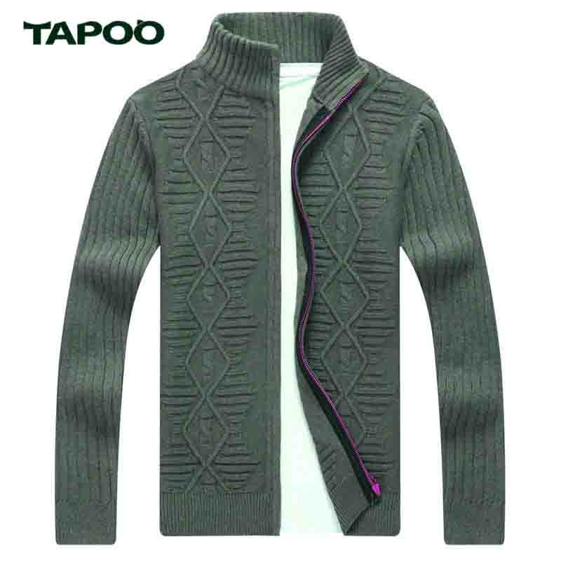 TAPOO Mens Cardigan Sweater Brand Clothing Men Zipper Sweaters Male Cardigan Striped Stand Collar Knitted
