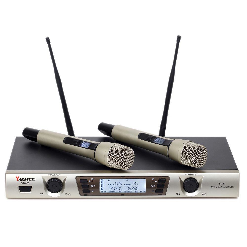 UHF Dual Channel 2 Handheld Mic Transmitter Professional Karaoke UHF Wireless Microphone System YU23 high end uhf 8x50 channel goose neck desk wireless conference microphones system for meeting room