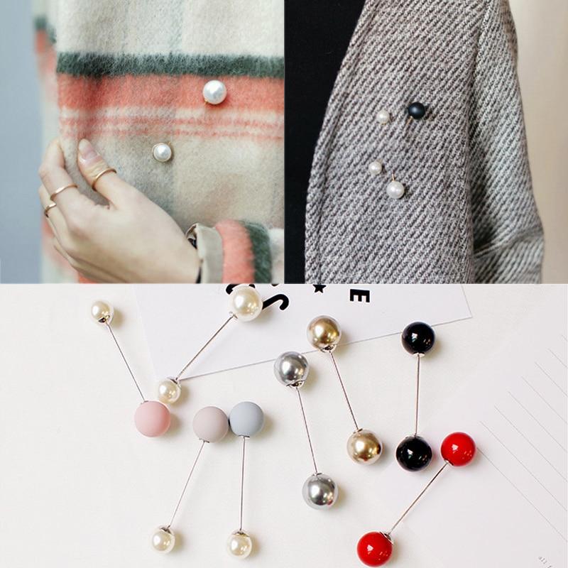 Mode 1 Pc femme/fille Imitation perle broche classique charme haute qualité accessoires Simple Double perles broches all-match