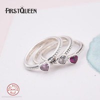 FirstQueen Solid 925 Sterling Silver Ring Love Heart Romantic Finger Ring With AAA CZ For Women