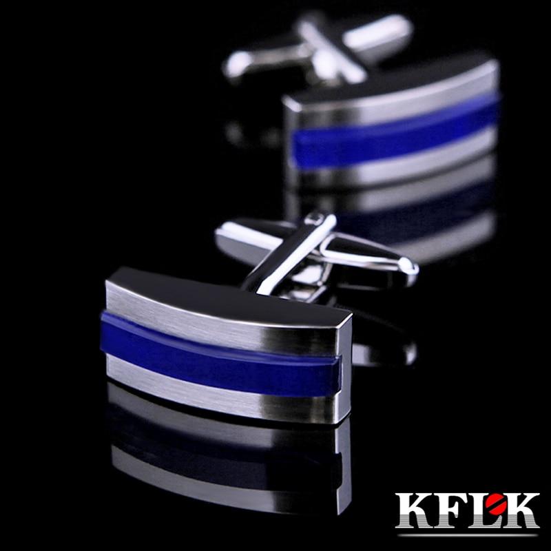 KFLK Schmuck Shirt Mode Manschettenknöpfe für Herren Brand Blue Manschettenknöpfe Großhandel Button Hochwertige Hochzeit Bräutigam Kostenloser Versand