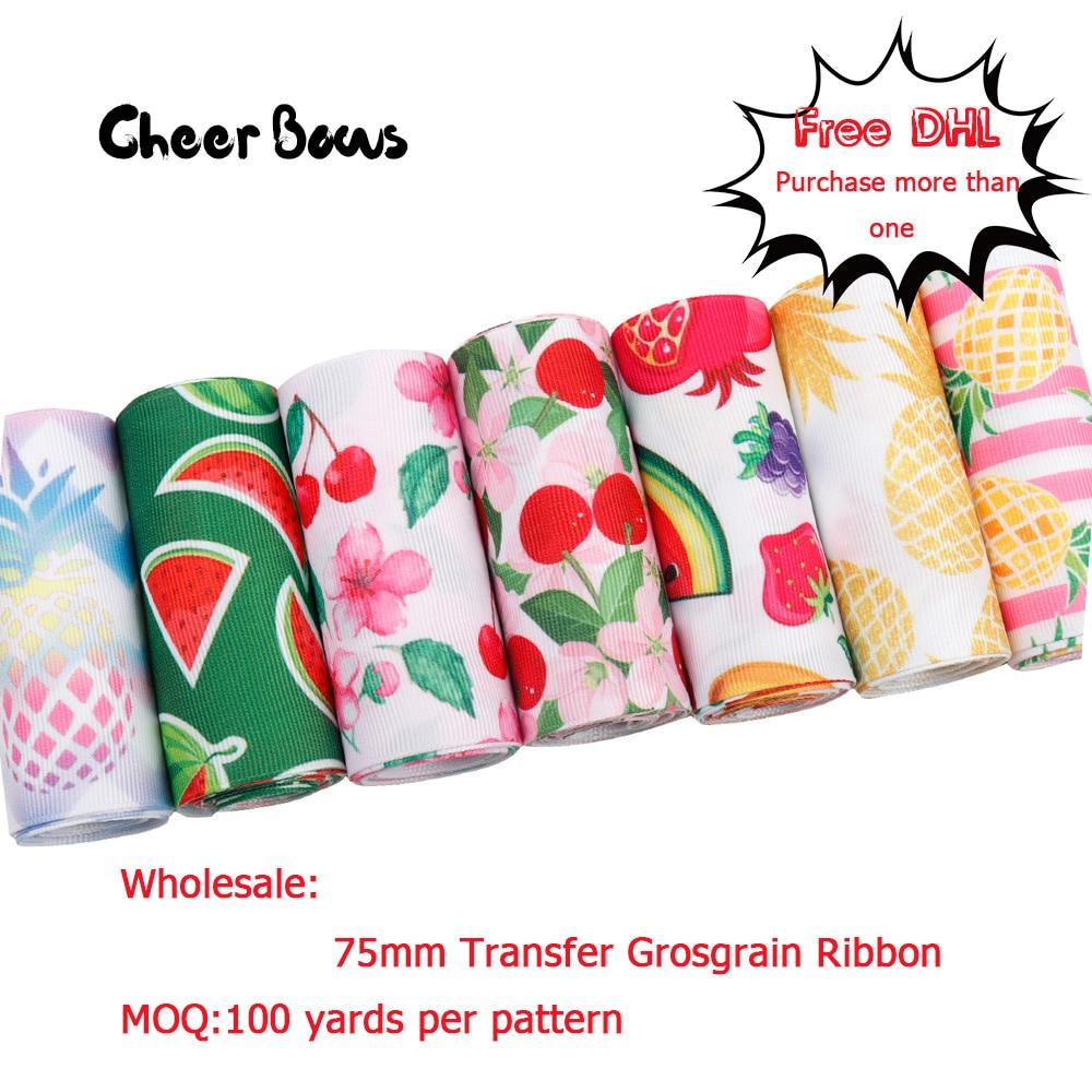 Gros Fruits imprimé ruban transfert gros-grain ruban 75mm bricolage cheveux arc accessoires ruban pour artisanat 100 yards