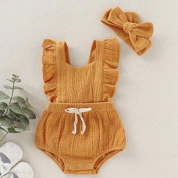 2019 nuevo mono caliente para niñas con volantes de Color sólido mameluco Backcross trajes mono traje de sol ropa de bebé recién nacido