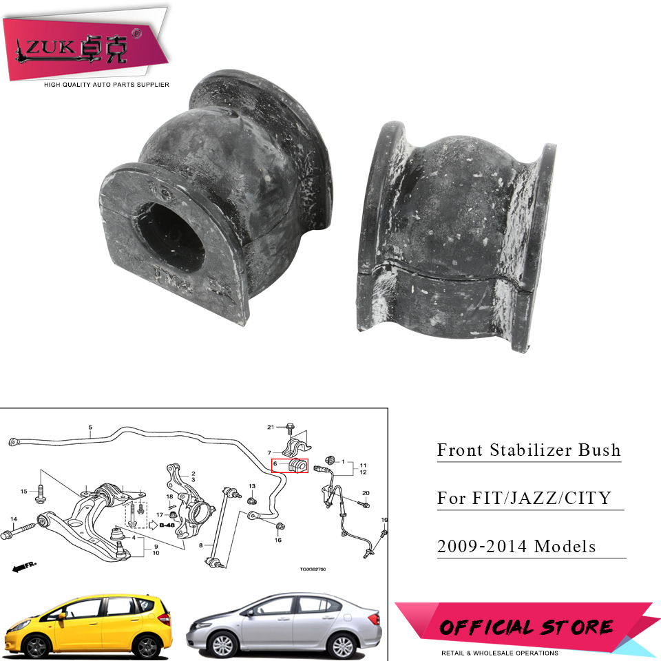ZUK Suspension Front Stabilizer Bar Bush Rubber Holder Bushing For HONDA FIT JAZZ GE6 GE8 CITY GM2 GM3 2009 2010 2011 2013 2014