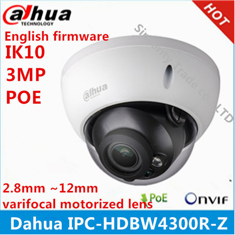 bilder für Dahua IPC-HDBW4300R-Z 2,8mm ~ 12mm vario motorisierte objektiv netzwerk kamera 3MP IR ip-kamera POE cctv-kamera englisch firmware
