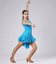 The black white blue Latin Dance Latin dance dress tango samba cha-chaclothing clothes and costumes lace dress  dance clothing