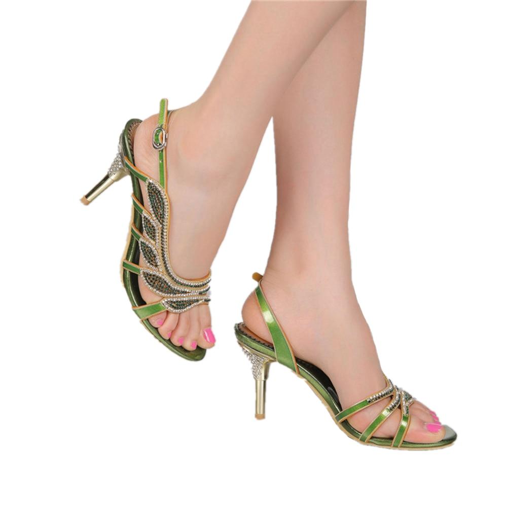 Véritable Heels Green green 35 golden Cuir Talons Mode Femme 2018 En 44 Parti Arrière Qualité Chaussures Hauts Thin Heels Haute Strass Wedges Sangle golden Femmes D'été Sandales Wedges EqHgxSCx