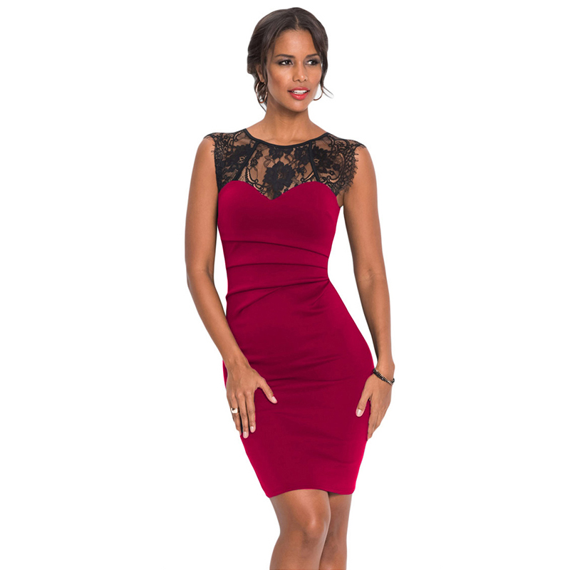 be8da959bf9 Sexy Women O Neck Red Lace Bodycon Dress Sheath Summer Beach Holiday Women Party  Lace Knee