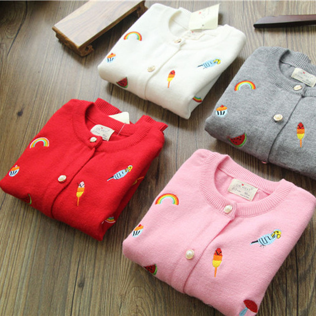 2016 new winter knitted sweaters girls rainbow and animal printed girls sweater embroidery printed winter girls cardigans 2-8T