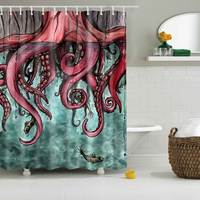 Svetanya Comic Octopus Print Shower Curtains Bath Products Bathroom Decor With Hooks Waterproof 71x71 59x71