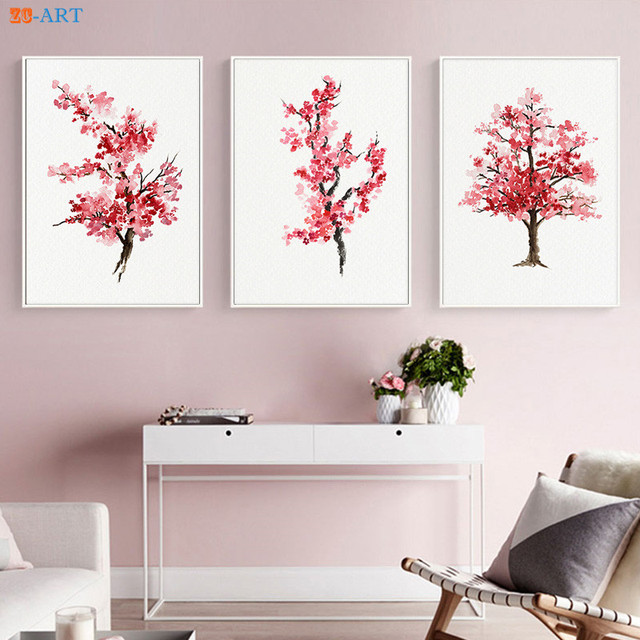 Abstract cherry blossom flower prints watercolor painting pink abstract cherry blossom flower prints watercolor painting pink sakura poster wall art canvas painting japanese home mightylinksfo