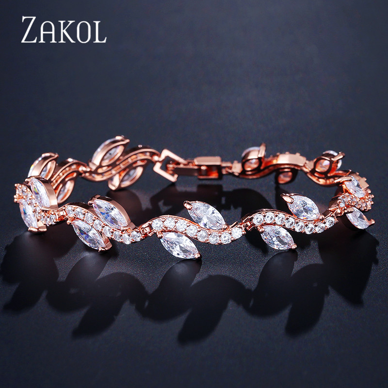 ZAKOL Sparkling! White Color High Quality AAA+ CZ Zirconia Strand Tennis Bracelet for Women Fashion Leaf Summer Jewelry FSBP066