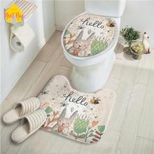 Удовлетворить приятно крышку унитаза фланель 2 шт./компл. Ванная комната мультфильм wc Крышка коврик для ванной дома кролика принтер толщина мягкие очистки